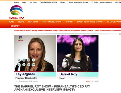 In the press- The Darriel Roy Show- Kerahealth's CEO Fay Afghahi Exclusive Interview