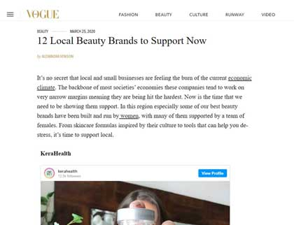 In the press – 12 Local Beauty Brands to Support Now